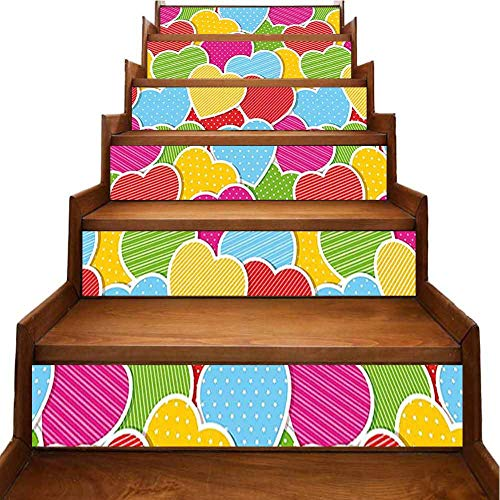 Calcomanías para escaleras, color rosa, My Love as Deep as The Ocean Romantic for Her, con escaleras, pegatinas decorativas para sala de estar, cuarto de niños, dormitorio, Verde-09, 7'x39.3'x6pcs