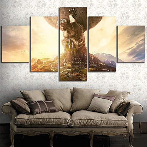 Baobaoshop Lienzo Impresiones En HD Imagen Art Wall 5 Paneles Videojuego Atlas Dios Pintura DecoracióN del Hogar Cartel Moderno Modular Sala De Estar Sin Marco-30x40 30x60 30x80cm