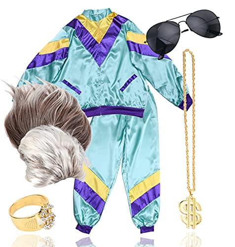TK Gruppe Timo Klingler 6 in 1 Vokuhila Set mit Trainingsanzug, Assi Perücke, Goldkette, Brille - für Fasching & Karneval für 80er Kostüm
