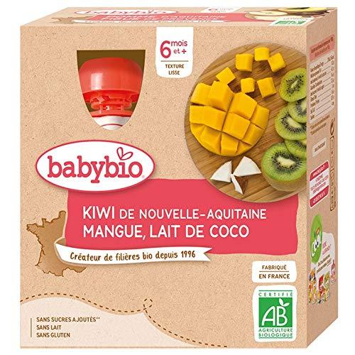 Babybio - Brassés Végétaux - Gourdes Lait de Coco Kiwi Mangue 4x90 g - 6+ Mois - BIO