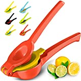 Top Rated Zulay Premium Quality Metal Lemon Lime Squeezer - Manual Citrus Press Juicer (Bright Red and Yellow)