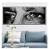 Cuadro de dibujos animados de lágrimas de ojos tristes, cuadro impreso en lienzo para decoración de pared de habitación de oficina, póster abstracto, arte de pared, decoración del hogar-60X120Cm