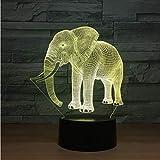 Ilusión 3D Regalo de cumpleaños Luces nocturnas Marfil Elefante LED Luces...
