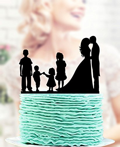 Cake Topper, decorazione per torta di famiglia, decorazione per matrimonio, sposa e sposo con due ragazzi + due bambine Cake Topper, coppia con topper per torta per bambini