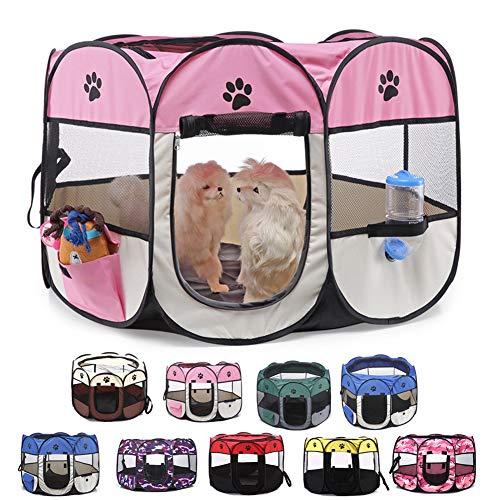 Parque Plegable Portátil para Mascotas, 8 Paneles para Perros, Gatos, Conejos Y...