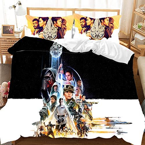 CHRN - Juego de ropa de cama 3D de Star Wars Kids, 100% microfibra, impresión digital 3D, tela para el hogar, regalo para decoración del hogar, 200 x 200 cm