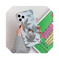 メープルリーフ&グリッタークリアフォンケースFor iPhone 12 11ProマックスメッキゴールドリーフパインアップルソフトIMDリングホルダーカバー用-a-For iPhone 12 Mini