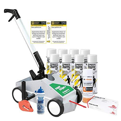 TMS PRO SHOP Markierung-Komplett-Set Typ M, weiß, Bodenmarkierungsgerät, Markierfarbe und Zubehör, für innen und außen