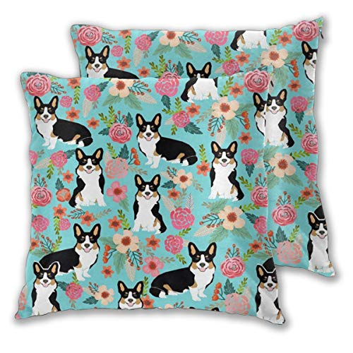 YUERF 2 PCS 16'x16' Corgi Cute Black and Tan Welsh Cardigan Corgi with Florals Flowers Throw Pillow Covers Decorative Cushion Case, Inserts are Not Included