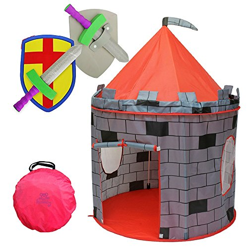 Image of Kiddey Knight's Castle Kids Play Tent -Indoor & Outdoor Children's Playhouse -- Durable & Portable with Free Carrying Bag  Bonus Shield and Sword Set - Makes for Boys & Girls