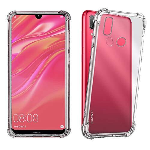 REY Funda Anti-Shock Gel Transparente para Huawei Y7 Prime 2019 / Y7 Pro 2019, Ultra Fina 0,33mm, Esquinas Reforzadas, Silicona TPU de Alta Resistencia y Flexibilidad