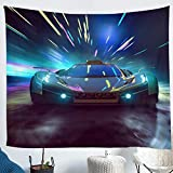 Erosebridal Racing Car Wall Tapestry Porch Hangings Racing Game Wall Blanket Speed Car Wall Hanging Extreme...