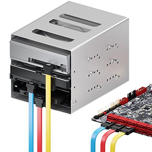 deleyCON 3X 50cm SATA III Kabel S-ATA 3 Datenkabel 6 GBit/s Verbindungskabel Anschlusskabel für HDD SSD - Metall-Clip - 1x Gerade 1x 90° L-Type Stecker - Gelb/Rot/Blau