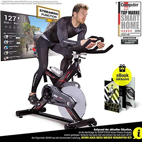 Sportstech Profi Indoor Cycle SX400 –Deutsche Qualitätsmarke-mit Video Events & Multiplayer APP, 22KG Schwungrad, Pulsgurt kompatibel-Speedbike mit leisem Riemenantrieb-Ergometer
