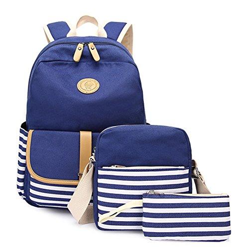Schulrucksack Mädchen Canvas Rucksack Daypacks Backpack Damen Schulranzen/Schultasche 3 in 1 Dunkelblau