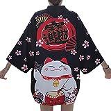 Women Girls Japanese Kimono Cardigan Coat Loose Yukata Outwear Tops Fortune Lucky Cat (Black Flower-Cat)