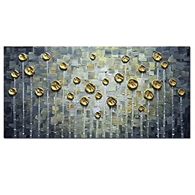 Asdam Art- 3D Gold Rose Oil Paintings on Canvas Black and White Artwork Modern Home Decor Wall Art for living Rom Bedroom 100% Hand Paintings Framed Raday to Hang Canvas(20x40inch)