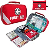 First Aid Kit (215 Piece) + Bonus 43 Piece Mini First Aid Kit - Includes Emergency Blanket, Bandage, Scissors...