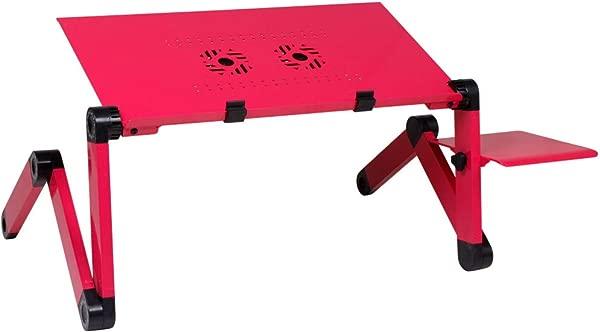 笔记本电脑桌便携式床托盘书架多功能人体工程学设计双层桌面红色
