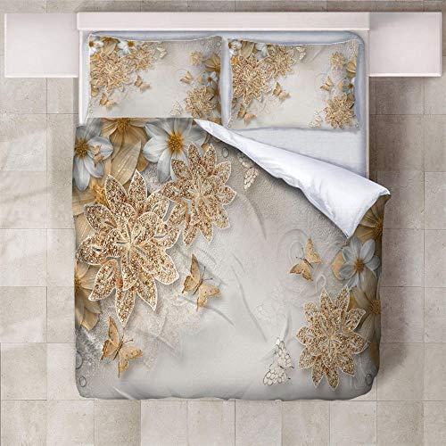 IXGMI Crystal Butterfly Flower Bedding, Duvet Cover Set Single 3pcs with Zipper Closure, Ultra Soft Microfiber 3D Digital Print Quilt Cover Set 135x220cm
