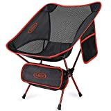 G4Free Upgraded Lightweight Portable Chair Outdoor Folding Camping Chairs with Side Pocket for Sports Picnic Beach Hiking Fishing Backpacking (Red)