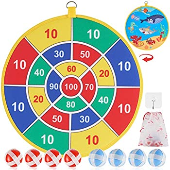 YPZIMYK Dart Board Game for Kids with 8 Sticky Balls Safe Classic Dartboard Set Christmas Dart Games Gift for Boys Girls -13.5 Inches