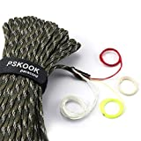 PSKOOK Survival Paracord Parachute Fire Cord Survival Ropes Red Tinder Cord PE Fishing Line Cotton Thread 7 Strands Outdoor 20, 25, 100 Feet (Forest Camo, 100)