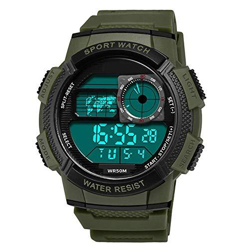 Multi-Función Nueva Hombres de los Relojes de Digital Impermeable Tendencia Escuela Los Estudiantes Deportes al Aire Libre Mujer Reloj electrónico fengong (Color : Army Green)