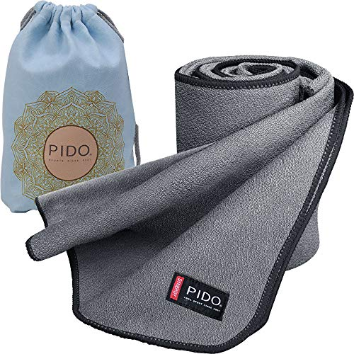 """wwww Pido Yoga Mat Towel Non Slip Sweat Absorbent Towel Convenient Widened Folded Fitness Blanket with Bag 72""""x26"""" (Gray)"""