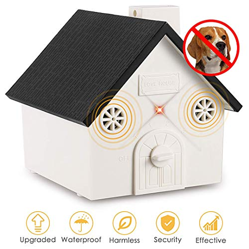 Humutan Anti Barking Device, Outdoor Anti Bark Deterrents with Adjustable Ultrasonic Level, Waterproof Ultrasonic Infrared Dog Barking Control for...