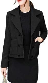 Macondoo Women Warm Winter Outwear Double Breasted Wool Blended Pea Coat Jacket