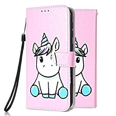 Funda Libro para Samsung Galaxy A10 Carcasa de Cuero PU Premium Flip Wallet Case Cover con Tapa Teléfono Piel Tarjetero - Unicornio Rosa