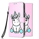 Funda Libro para Samsung Galaxy S5 Carcasa de Cuero PU Premium Flip Wallet Case Cover con Tapa Teléfono Piel Tarjetero - Unicornio Rosa