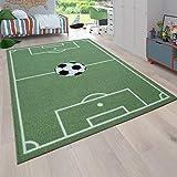 Alfombra Infantil Juego para Dormitorio Niños Diseño Campo De Fútbol En Verde, tamaño:80x150 cm