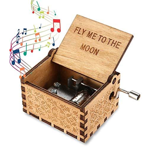 Yibaision Spieluhr Fly Me to The Moon-Thema, Klassische Spieluhr aus Holz Handwerk mit Handkurbel, handgefertigte hölzerne Geschnitzte Spieluhr Geschenke für Kinder/Freunde/Erwachsene
