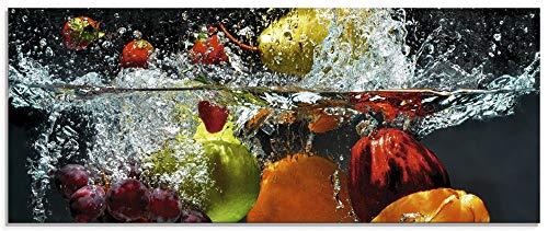 Artland Qualitätsbilder I Glasbilder Deko Glas Bilder Größe 125x50 cm Genuss Obst Foto Bunt D1GJ Spritzendes Obst auf dem Wasser