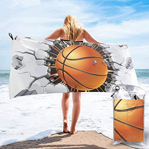 Toalla de Playa 27.5 'X 55',Baloncesto Arena Ultra Suave Microfibra Portátil Absorbente de Agua Microfibra múltiple Sin Arena Toalla de Playa Manta-Baloncesto