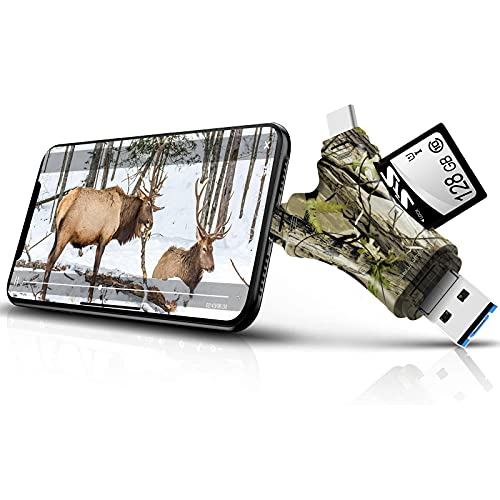 Trail Camera Viewer SD Card Reader,4 in 1 SD and Micro SD Memory Card Reader Compatible with iPhone/ipad ,Trail Camera SD Card Viewer to View Hunting Game Camera Photos or Videos on Smartphone