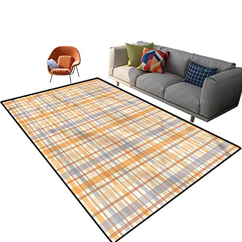 Indoor Room Retro Area Rugs,4'x 6',Timeless Plaid Style Squares Floor Rectangle Rug with Non Slip Backing for Entryway Living Room Bedroom Kids Nursery Sofa Home Decor