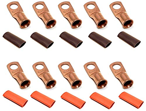 10pcs of 3//8 Tinned Copper Cable Lug Terminal Connectors 3 Feet Black Heat Shrink Tubing 2//0 Gauge 2//0 AWG 25 Feet Red 25 Feet Black Welding Battery Pure Copper Flexible Cable