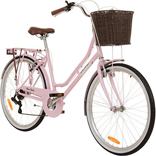 Galano 26 inch Cityfiets Belgravia 6 versnellingen damesfiets meisjesfiets citybike met mand