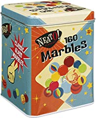 The marbles in this set can be used in games of skill, traded with friends or for the simple pleasure of studying their unique patterns. This set includes 160 glass marbles in a variety of colors and patterns. Marbles are kept in a colorful tin stora...