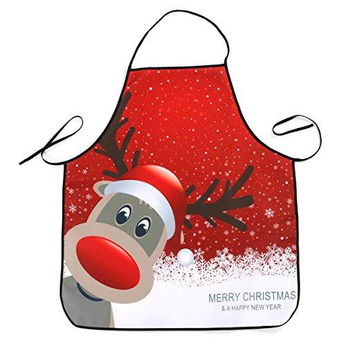 Tinksky Weihnachtsküchen-Schürze Wasserfestes Restaurant-Abendessen-kochendes Schutzblech für das Backen Barbequing (Elch-Kopf)