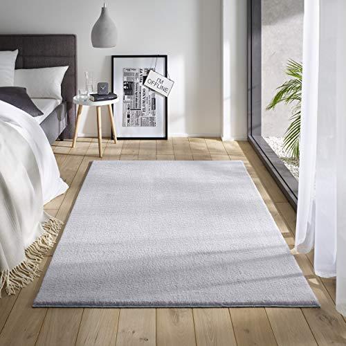 Teppich Wölkchen Waschbarer Teppich mit Anit-Rutsch I Flauschiger Kurzflor für Badezimmer, Kinderzimmer oder Flur Läufer I Einfarbig, Schadstoffgeprüft, Allergikergeeignet | Grau - 120 x 170