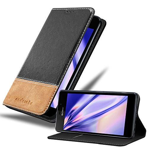 Cadorabo Hülle für Sony Xperia M2 / M2 Aqua in SCHWARZ BRAUN – Handyhülle mit Magnetverschluss, Standfunktion & Kartenfach – Hülle Cover Schutzhülle Etui Tasche Book Klapp Style