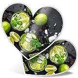 Impresionante 2 pegatinas de corazón de 7,5 cm – Mojito Cocktail Alcohólico Bar Club Fun calcomanías para portátiles, tabletas, equipaje, libros de chatarra, neveras, regalo genial #16076