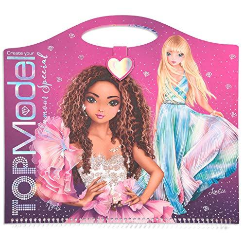 Depesche 11434 Livre de coloriage Create Your TOPModel Glamour Special, env. 33 x 30,5 cm, 52 Pages avec Figurines pré-imprimées, Autocollants, Feuilles et 2 pochoirs