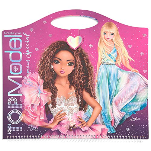 Depesche Create Your TOPModel Glamour Special 11434 - Libro para Colorear (33 x 30,5 cm, 52 páginas, con Figuras preimpresas, Pegatinas, Hojas y 2 Plantillas)