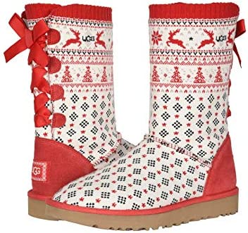 UGG Women s Zappos 20th x Holiday Sweater Boot Ribbon Red 6 B M product image
