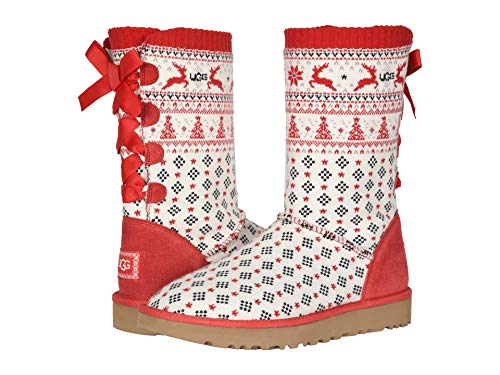 UGG Women's Zappos 20th x Holiday Sweater Boot Ribbon Red 8 B (M)